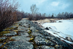 Old Finnish dam near the village of Pyatireche, Leningrad region, Russia. Old Finnish dam in winter Stock Image