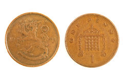 Old Finnish monet one penny. Royalty Free Stock Photography