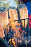 Old finnish way to smoke salmon Stock Photos