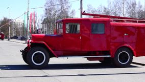 Old fire bluster tank truck stock video footage