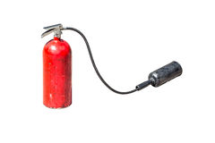 Old fire extinguisher with head spray isolate on white backgroun Stock Photography