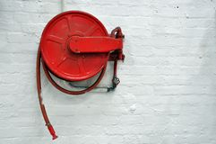 Old fire hose reel Royalty Free Stock Images