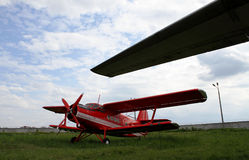 Old fire plane. Old red biplane from firefighter team Stock Photography