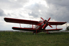 Old fire plane. Old red biplane from firefighter team Royalty Free Stock Images