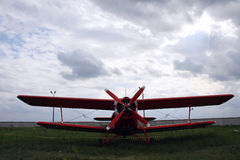 Old fire plane. Old red biplane from firefighter team Stock Photos