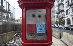Old Fire and Police call box stock images