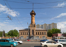 Old fire tower. Moscow, Russia. Fire tower - fire station No. 12 of the Main Department of EMERCOM of Russia. Sokolniki, Moscow Stock Images