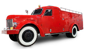 Old fire truck. 1950-1960s fire truck isolated. Clipping path included Stock Photography