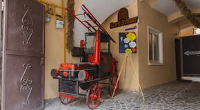 Old Fire Truck in Braşov. Old fire truck exhibited in Rope Street in Brasov, Romania Stock Images