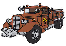 Old fire truck. Hand drawing of a classic fire truck - not a real model Stock Photography
