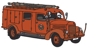 Old fire truck. Hand drawing of a classic fire truck - not a real type Royalty Free Stock Images