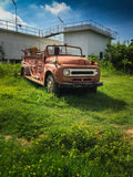 Old fire truck. Red old fire truck. it park on empty land of chaiyaphum thailand Stock Photos