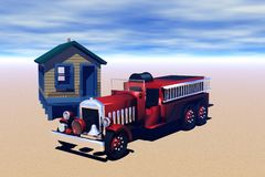 Old fire truck and shed Royalty Free Stock Photography