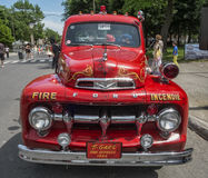 Old fire truck. Street fair in Little Italy, Montreal Royalty Free Stock Images