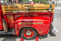 Old fire truck. Street fair in Little Italy, Montreal Royalty Free Stock Photos