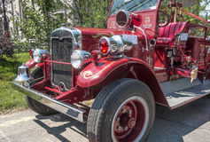 Old fire truck. Street fair in Little Italy, Montreal Stock Photo