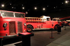 Old fire trucks on display Albany State Museum,New York,2016. Interesting collection of old fire trucks from all over the city, on display at Albany's State Royalty Free Stock Image
