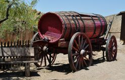 Old fire water wagon. Old west fire water wagon Stock Photo