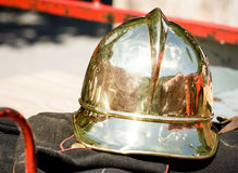 Old firefighter's helmet Stock Images