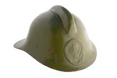 Old fireman's helmet. Old Soviet fire helmet on a white background Royalty Free Stock Photos