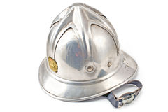 Old fireman's metallic helmet Royalty Free Stock Photography