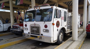 Old fireman white truck Royalty Free Stock Image