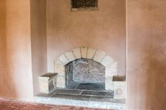 Old fireplace in castle room. In Spain stock photos