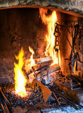 Old fireplace Stock Images