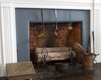 Old fireplace with logs Royalty Free Stock Photos