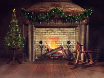 Old fireplace with a rocking horse and ornaments royalty free illustration