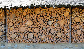 Old firewood shed and a lot of chopped logs Royalty Free Stock Images