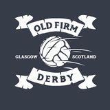 Old Firm Derby Of Glasgow, United Kingdom, Scotland. Football Or Soccer Logo Label Emblem Tee Print Design With Old. Fashioned Ball. Vector Graphic Royalty Free Stock Photos