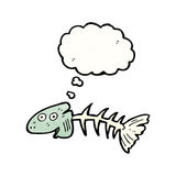 Old fish bones cartoon. Retro cartoon with texture. Isolated on White Stock Image
