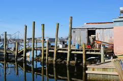 Old Fish House Pier Trawler Reflection Stock Photography