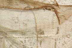 Old Fish Net Hanging And Covered Whitewashed Rustic Concrete Wal Royalty Free Stock Image