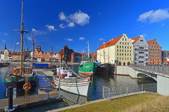 Old fishboats moored in Gdansk, Poland Royalty Free Stock Photo