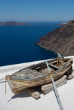 Old fisher boat decoration in Santorini Royalty Free Stock Image