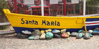 Old fisher boat in Santa Maria in Cape Verde Islands - Cabo Verd. E royalty free stock photography