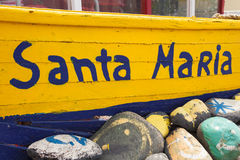 Old fisher boat in Santa Maria in Cape Verde Islands - Cabo Verd. E Stock Image