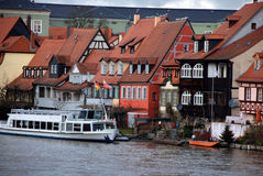 Old fisher houses and boats in Bamberg, Germany Royalty Free Stock Photo