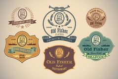 Old Fisher labels Royalty Free Stock Photos
