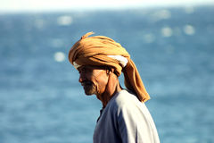Old fisher man in Dahab Stock Photo