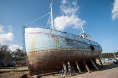 Old fisher ship wreck. In port of Ustka, Poland Royalty Free Stock Photo