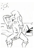 Old fisherman. Black and white ink drawing of old fisherman Royalty Free Stock Photos