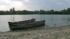 Old fisherman boat stock video