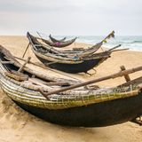 Old fisherman boats on the beach in Hue province Royalty Free Stock Photography