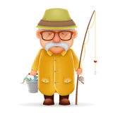 Old Fisherman Grandfather 3d Realistic Cartoon Character Design Isolated Vector Illustration Royalty Free Stock Images