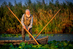 Old fisherman in his boat from Danube Delta Royalty Free Stock Photo