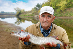 Old fisherman and his catch - pike Stock Photography