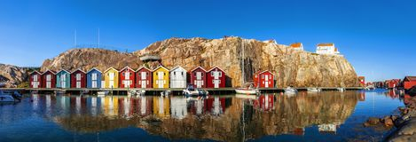Old Fisherman Houses in Smögen royalty free stock image